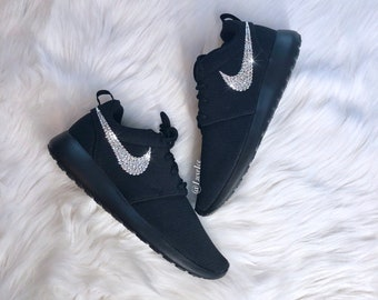 free shipping ca46e fdbe1 Swarovski Nike Roshe One Casual Shoes - Black Black customized with  Swarovski Xirius Rose Cut Crystals.