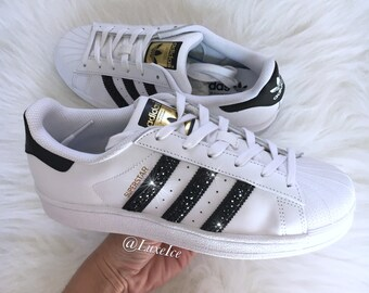 Adidas Original Superstar - White Black White - with Black SWAROVSKI®  Xirius Rose-Cut Crystals size 7 Women. 7cd9b265b5