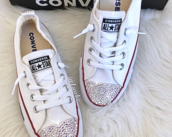 size 40 fb4b7 83bbd Converse All Star Shoreline - White customized with SWAROVSKI® Xirius  Rose-Cut Crystals.