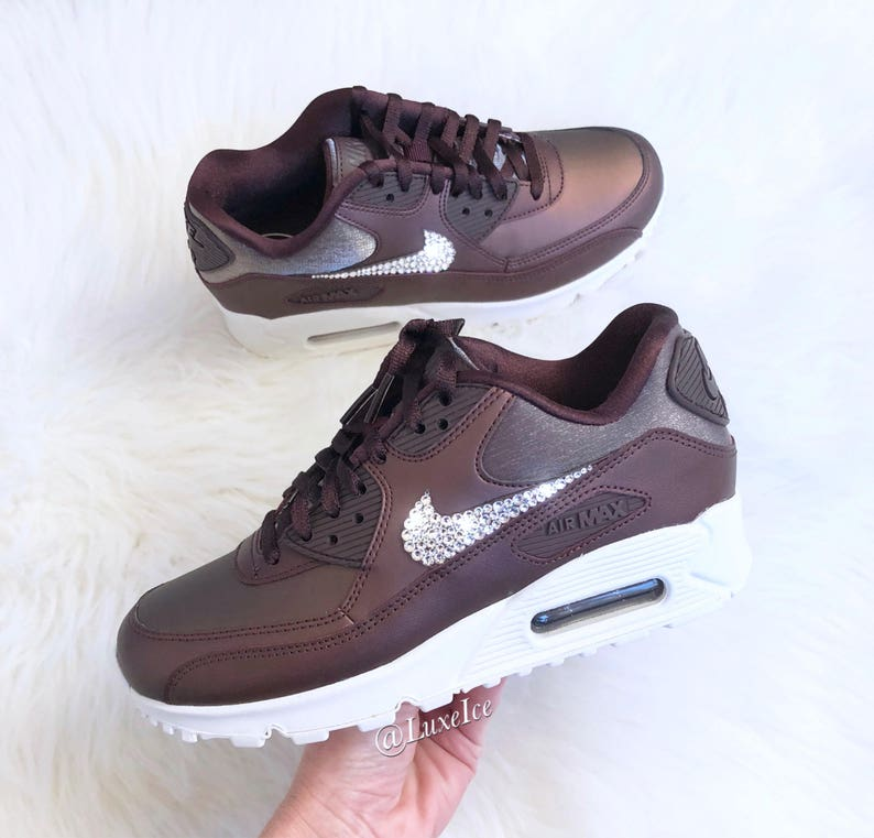 release date 82837 4fbc0 Swarovski Nike Air Max 90 Premium Running Shoes customized   Etsy