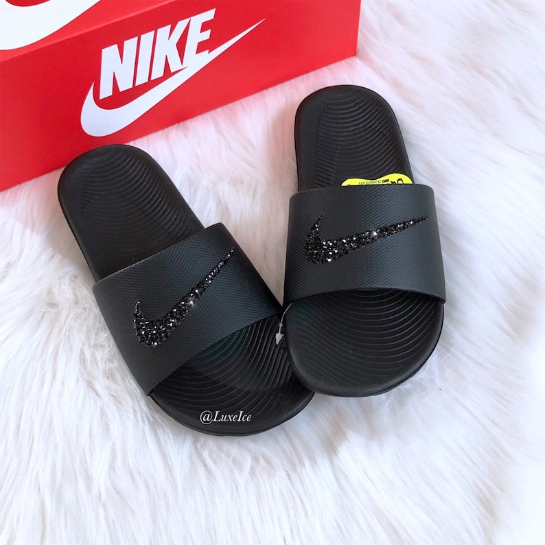 00f1da344609 Swarovski Nike KAWA Slides Black Sandals customized with
