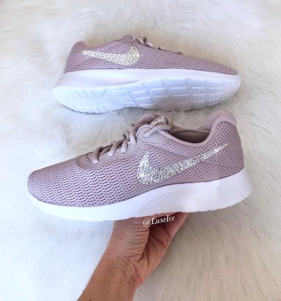Swarovski Nike Tanjun Particle Pink/White customized with SWAROVSKI® Xirius  Rose-Cut Crystals.