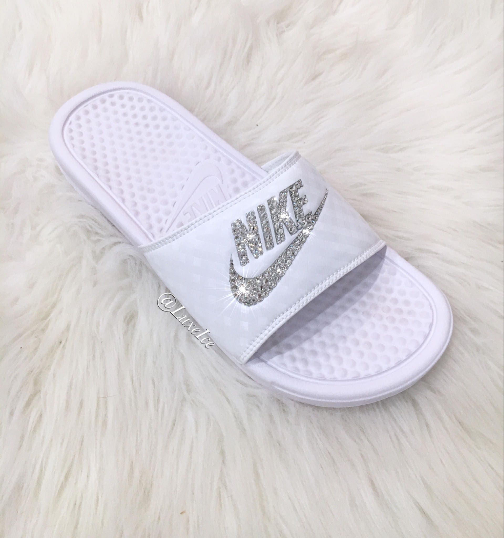 84610195dfe6 Swarovski Nike Benassi JDI Slides Sandals customized with