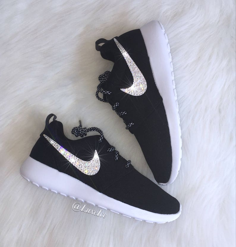 the latest c1cb1 359c9 Swarovski Bling Nike Roshe Run Black White with SWAROVSKI®   Etsy