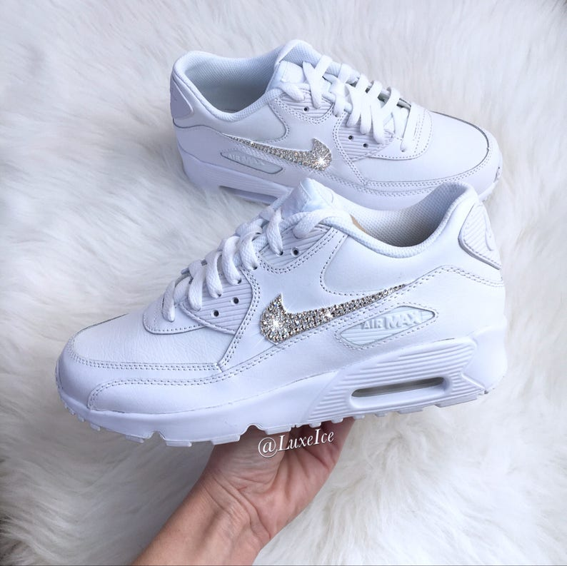 new product b4ca9 b6886 Swarovski Nike Air Max 90 White Casual Shoes customized with