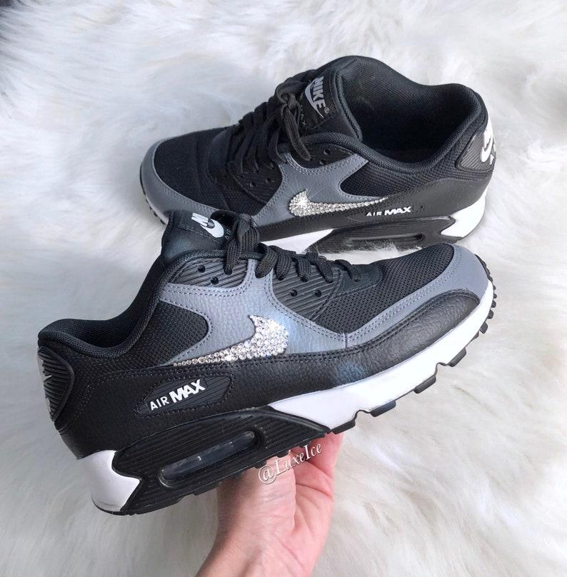 size 40 af2ad 5f7ef Swarovski Women Nike Air Max 90 Black Cool Grey White   Etsy