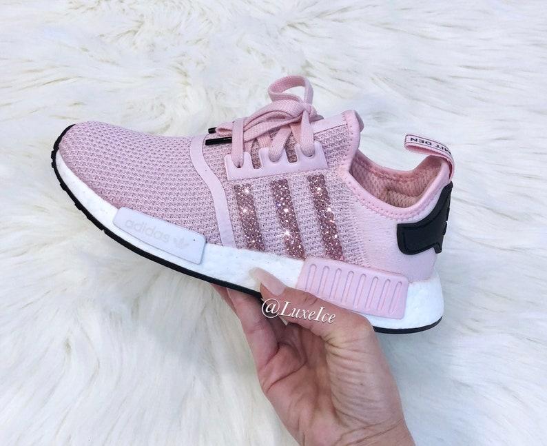 0f3c37b4655bb Swarovski Adidas NMD R1 Clear Pink White  Core Black