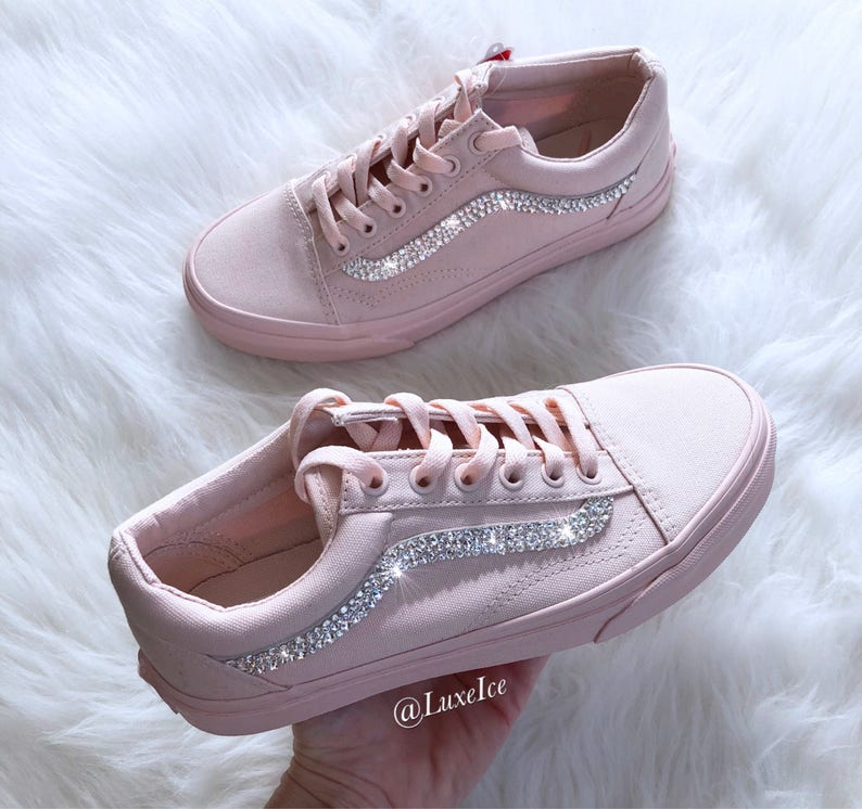 6ae3233fba6 Swarovski Vans Old Skool Mono Canvas Peach Blush with