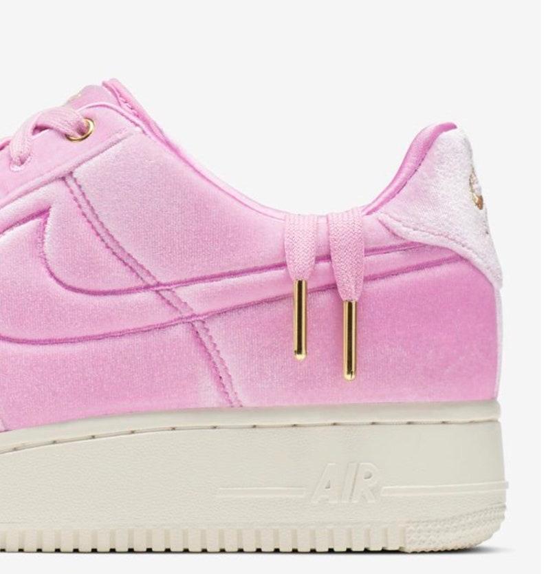 849cb241288fd Swarovski Nike Air Force 1 Pink Rise/Sail/Metallic Gold customized with  SWAROVSKI® Xirius Rose-Cut Crystals.