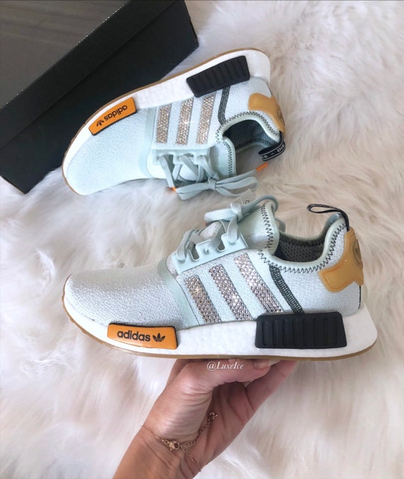 Swarovski Adidas NMD Runner Casual Shoes Vapour GreenBright Gold customized with Swarovski Crystals.