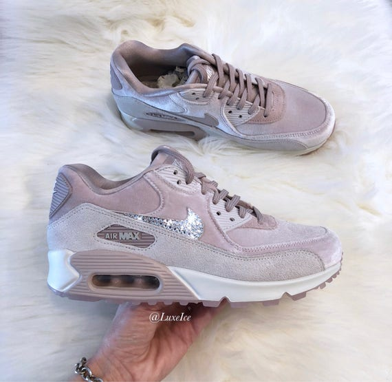 vente chaude en ligne fb428 354cd Nike Air Max 90 LX Velvet - Particle Rose/Grey/White customized with  SWAROVSKI® Crystals