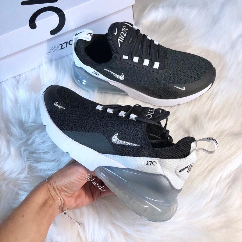 new styles 6d5a8 a267e Swarovski Nike Air Max 270 Black White Pure Platinum   Etsy