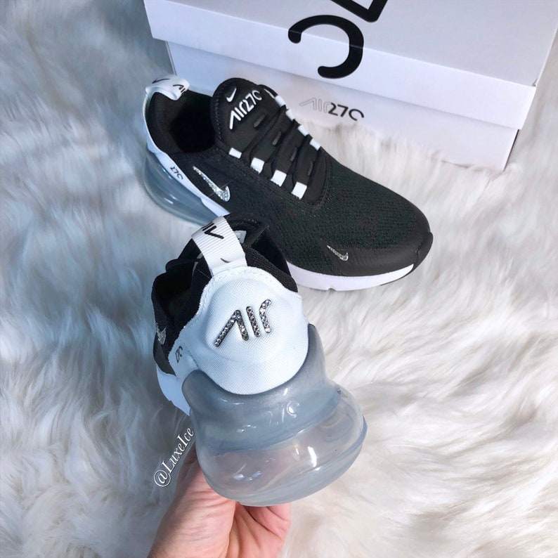 outlet store 79c43 5246b Ships Today! Swarovski Nike Air Max 270 Black/White/Pure Platinum  customized with SWAROVSKI® Xirius Rose-Cut Crystals. Size 7.5