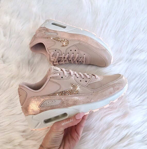 wholesale dealer b6335 78424 Swarovski Nike Air Max 90 Premium Running Shoes customized with Rose Gold  SWAROVSKI® Crystals.