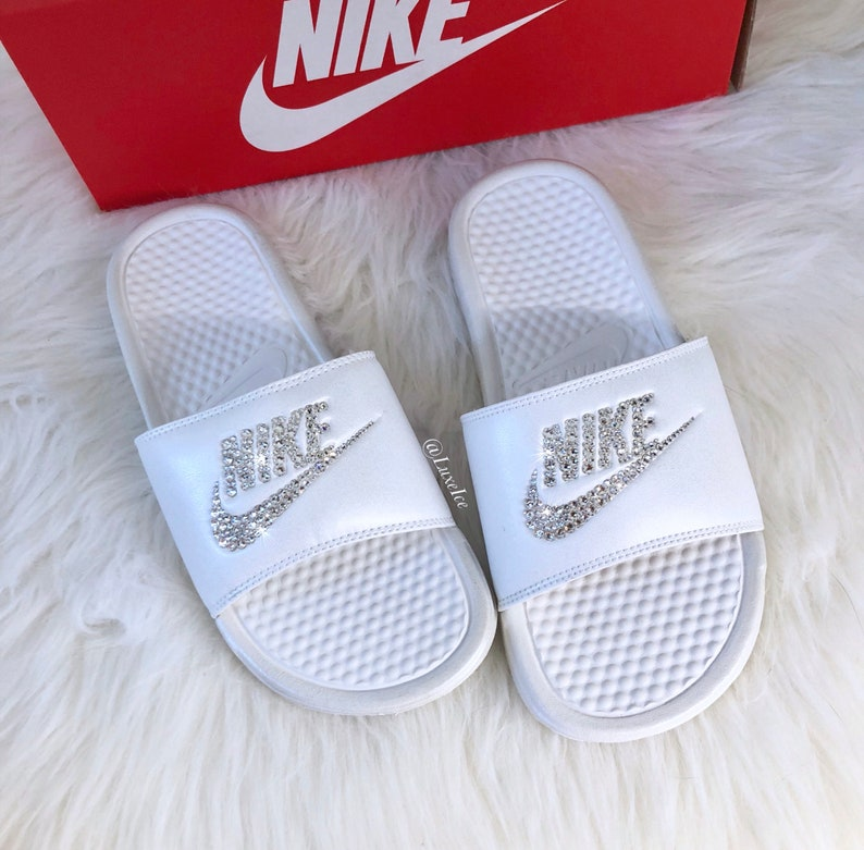 1253f1cc736 Nike Benassi JDI Slides Metallic White Summit White customized