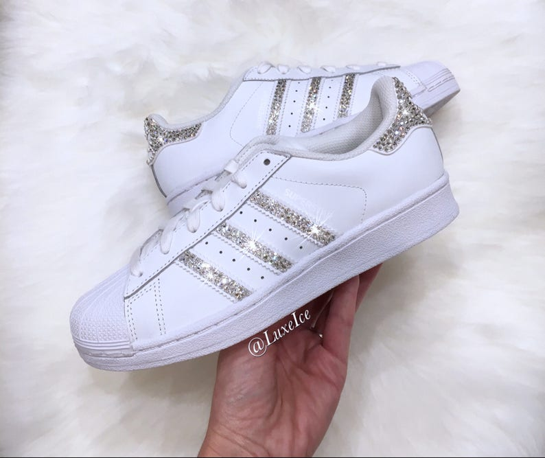f6e613295d51b Swarovski Adidas Superstar - White - avec SWAROVSKI® Crystals.