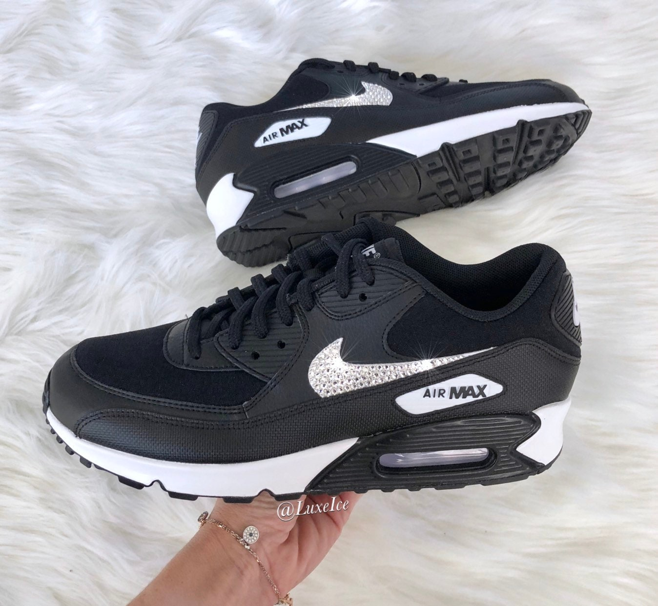 huge selection of 28eee afeb2 Nike Air Max 90 Black White customized with SWAROVSKI®   Etsy