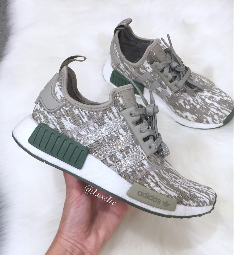 26878fea6 Ships Today Swarovski Adidas NMD R1 Green Casual Shoes.