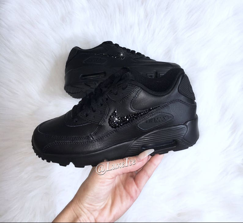 online store 74889 9d027 Nike Air Max 90 Black customized with Jet Black SWAROVSKI®   Etsy