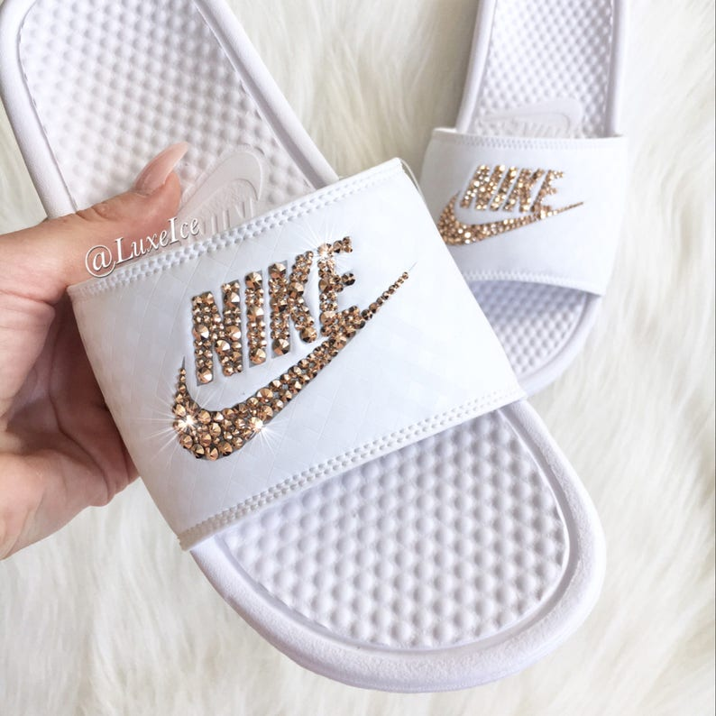 brand new ecd03 447c4 Swarovski Nike Benassi JDI Slides Sandals customized with Rose   Etsy