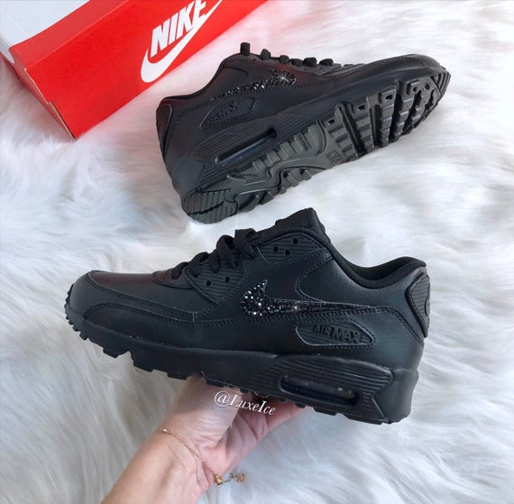 grossiste 21f89 67114 Nike Air Max 90 Black customized with Jet Black SWAROVSKI® Xirius Rose-Cut  Crystals.