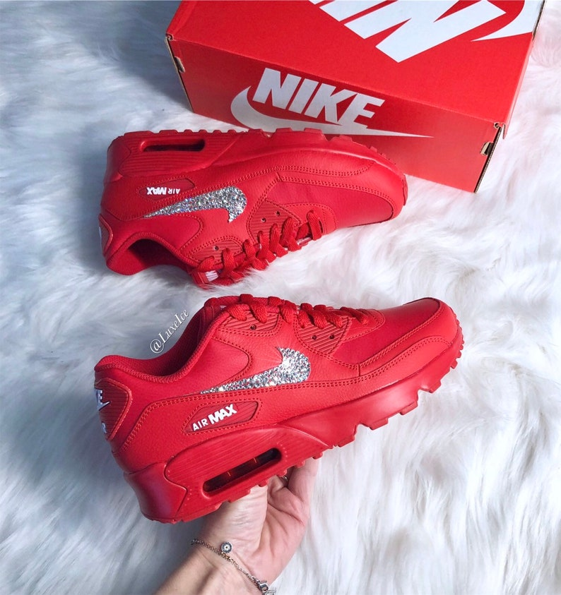 outlet store 424c5 9ce99 Swarovski Nike Air Max 90 Casual Shoes Red customized with   Etsy