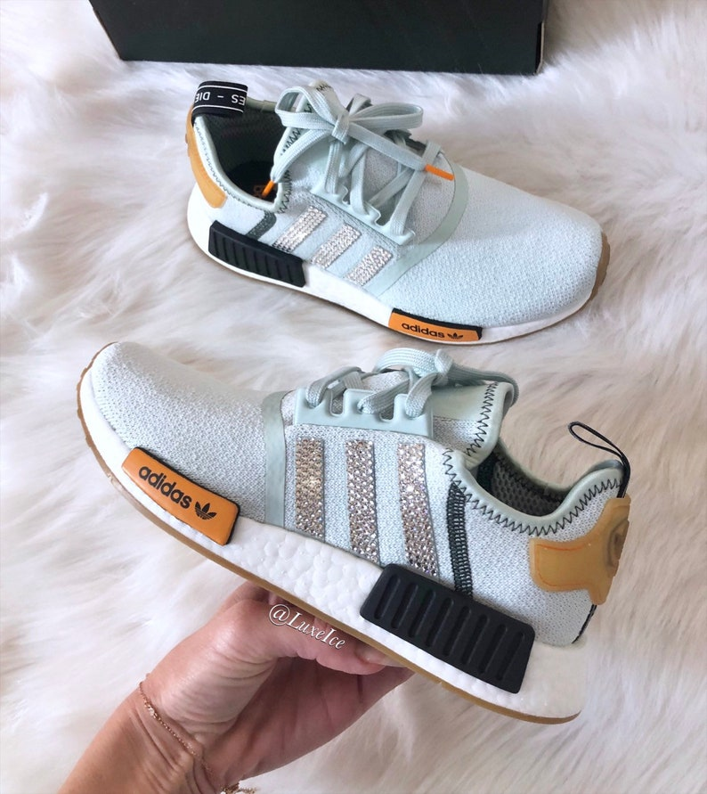 80825b6726cc2 Swarovski Women Adidas NMD Runner Casual Shoes Vapour Green/Bright Gold  customized with Swarovski Crystals.