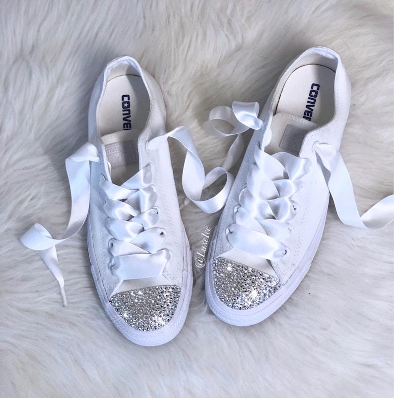3c483bb190acea Swarovski Converse All Star Chuck Taylor Adult Sizes White
