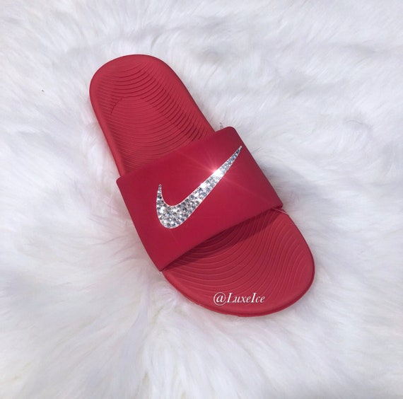 low priced e6aa0 915f7 Nike KAWA Slides Flip Flops Red customized with Swarovski   Etsy