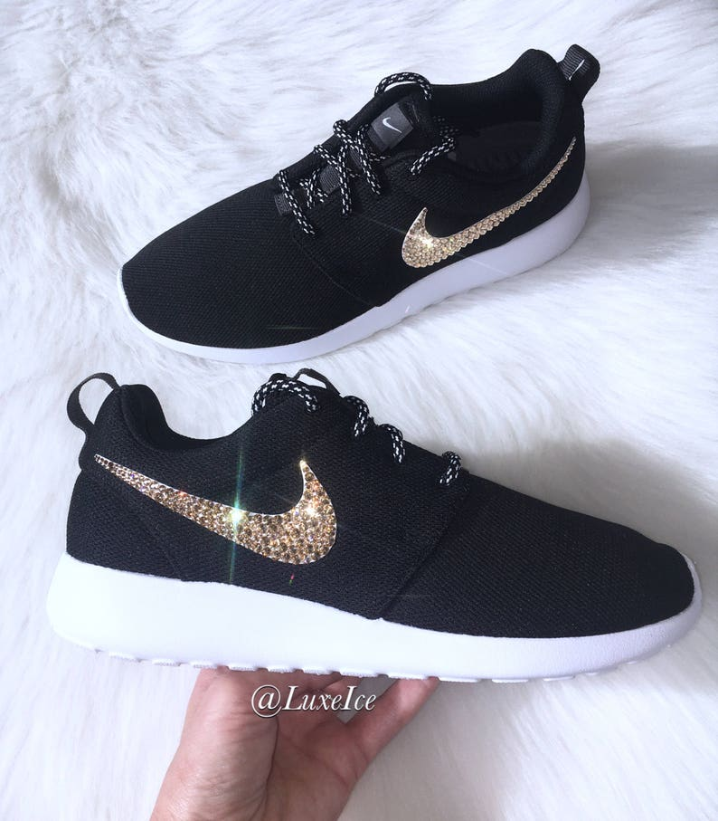 d0151849a4692 Swarovski Nike Roshe One Casual Shoes Black White customized