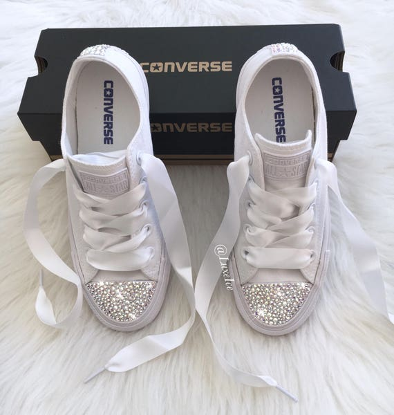 037a39137450d4 Swarovski Converse All Star Chuck Taylor Adult Sizes White