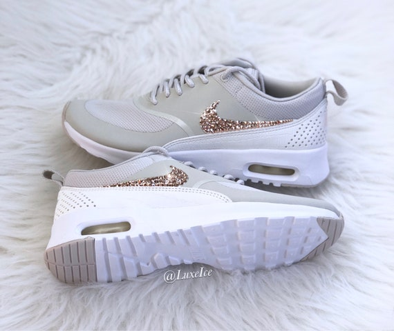 huge discount 585db ff04c Nike Air Max Thea Ligh Bone White Sail Blinged with Rose   Etsy