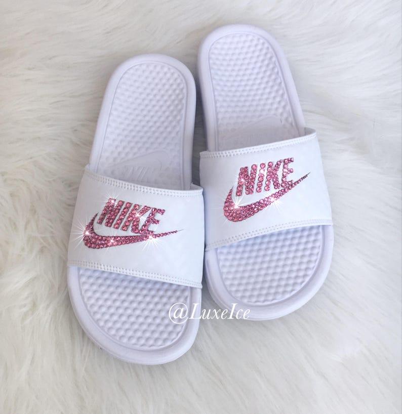 the best attitude e7205 2843d Nike Benassi JDI Slides Flip Flops customized with Rose Pink   Etsy