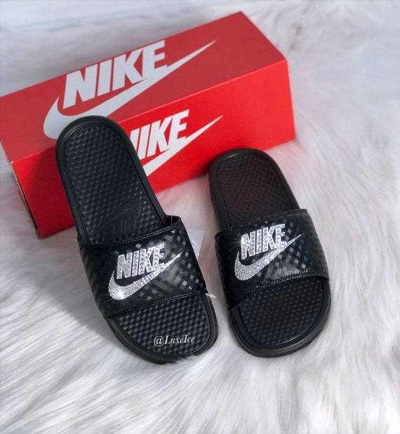 Swarovski Nike Benassi JDI Slides Sandals customized with Swarovski Crystals.