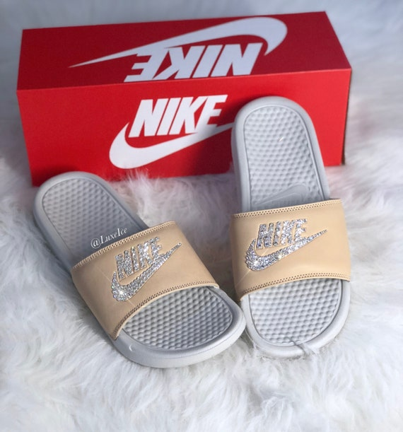 8f4f12c9c9b7 Nike Benassi JDI Slides Flip Flops customized with Swarovski