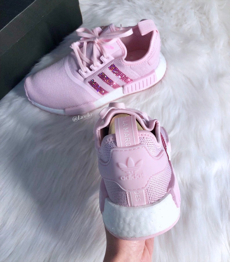 the latest 228e9 4441a Swarovski Adidas NMD R1 Clear Pink/Shock Pink/Footwear White customized  with Rose Pink SWAROVSKI® Xirius Rose-Cut Crystals.