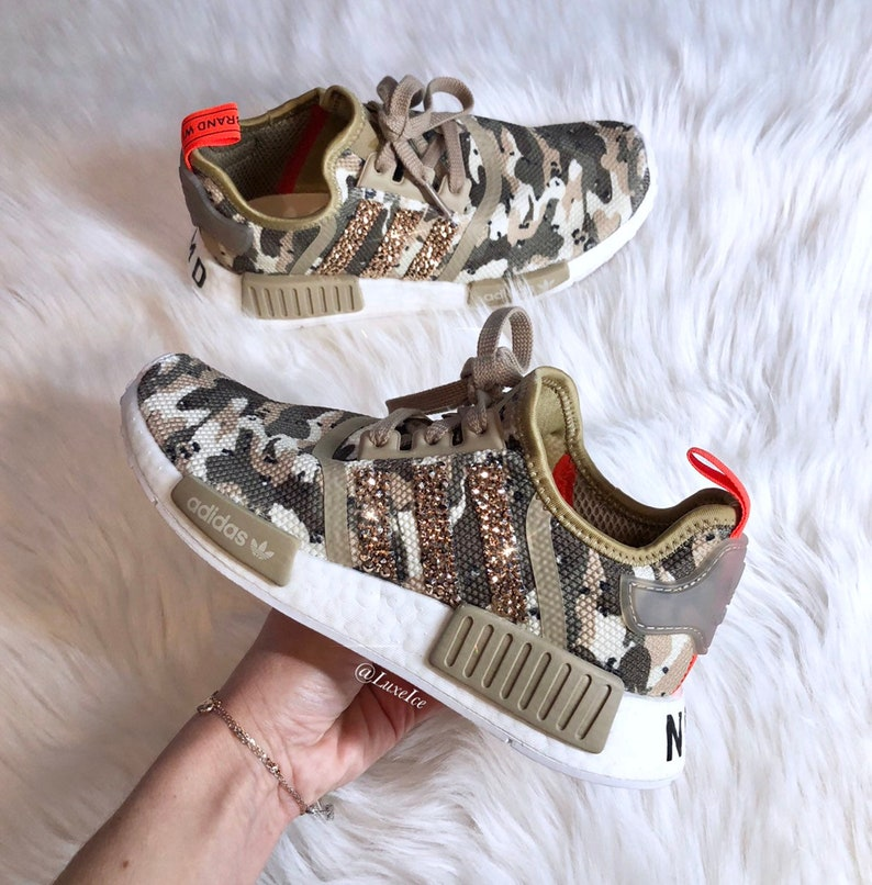bee6133f6 Tan Camo Swarovski Adidas NMD R1 customized with SWAROVSKI®