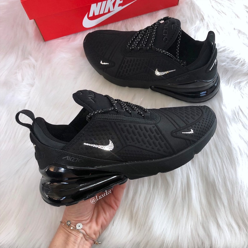 89f9dc18415 Swarovski Nike Air Max 270 Womens Black/Anthracite/Black with SWAROVSKI  Crystals Bling Nike Shoes.