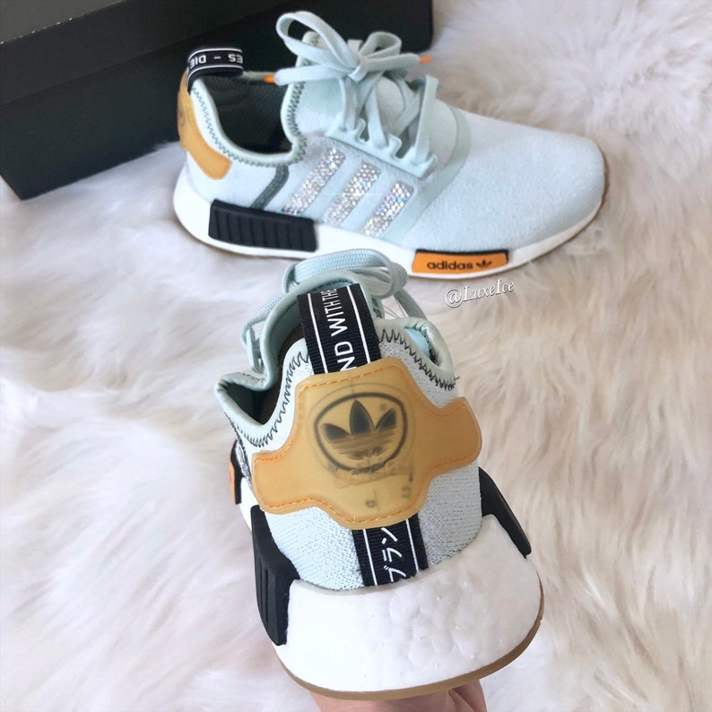 huge selection of 1e991 6b521 Ships Today! Swarovski Women Adidas NMD Runner Casual Shoes Vapour  Green/Bright Gold Blinged Out with Swarovski Crystals. size 7.5