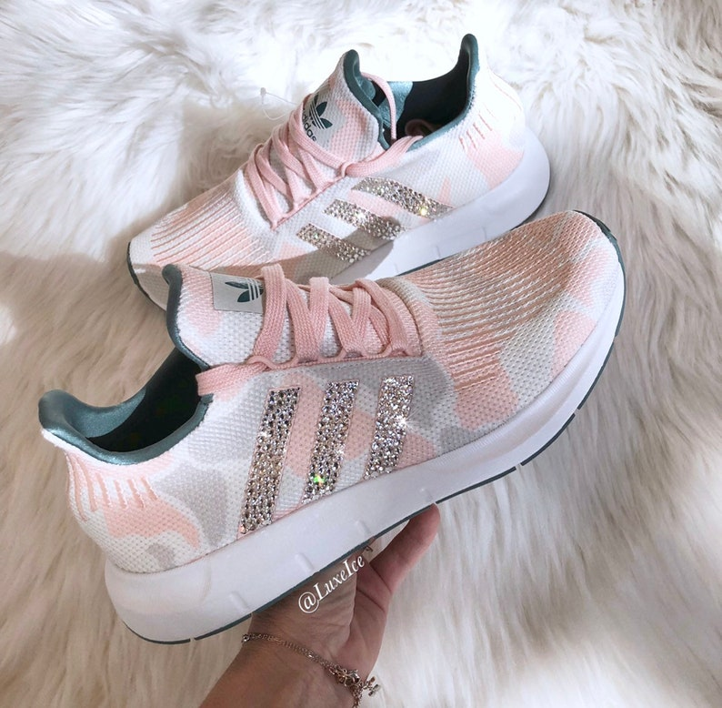d82096a4404f Swarovski Adidas Swift Run Talc Icey Pink White customized
