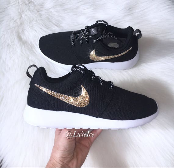 low priced 92cb7 3b8b6 Swarovski Nike Roshe One Casual Shoes Black/White customized with Golden  Shadow SWAROVSKI® Xirius Rose-Cut Crystals.