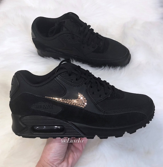 designer fashion ef211 2ced8 Nike Air Max 90 Black customized with Rose Gold SWAROVSKI®   Etsy