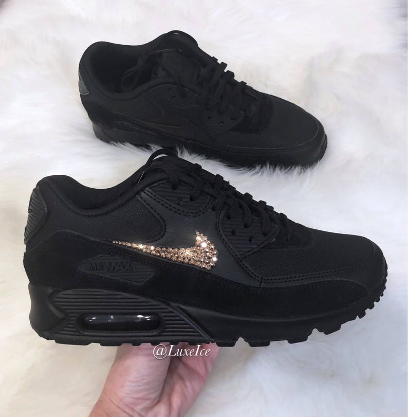 acheter populaire aff65 924b5 Nike Air Max 90 Black customized with Rose Gold SWAROVSKI® Xirius Rose-Cut  Crystals.
