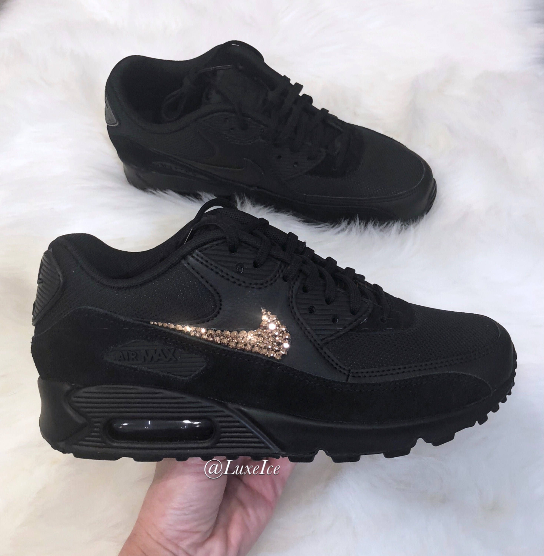 buy popular d26e4 9c85a Nike Air Max 90 Black customized with Rose Gold SWAROVSKI® Xirius Rose-Cut  Crystals.