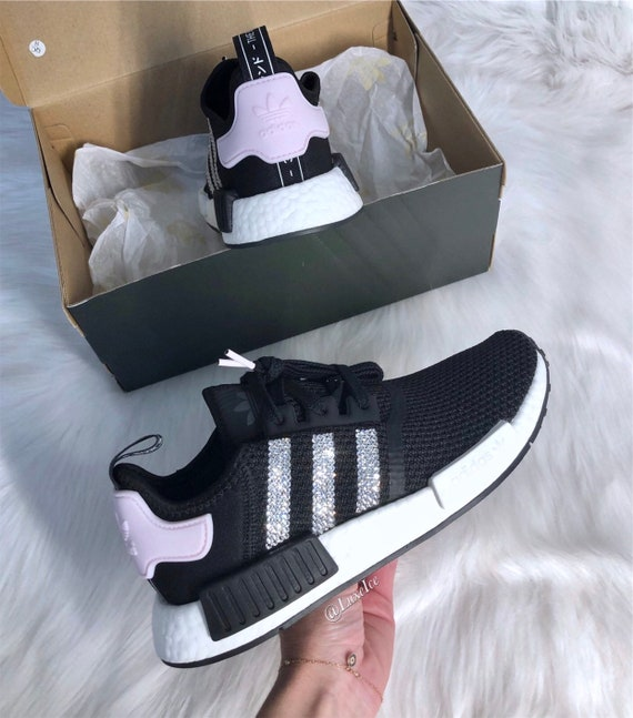 détaillant en ligne b3a5a f1023 Swarovski Womens Adidas NMD R1 Clear Pink/White/ Core Black customized with  Rose SWAROVSKI® Xirius Rose-Cut Crystals.