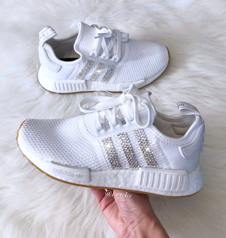 c52fc5e2d74f1 Swarovski Adidas NMD R1 White customized with SWAROVSKI®