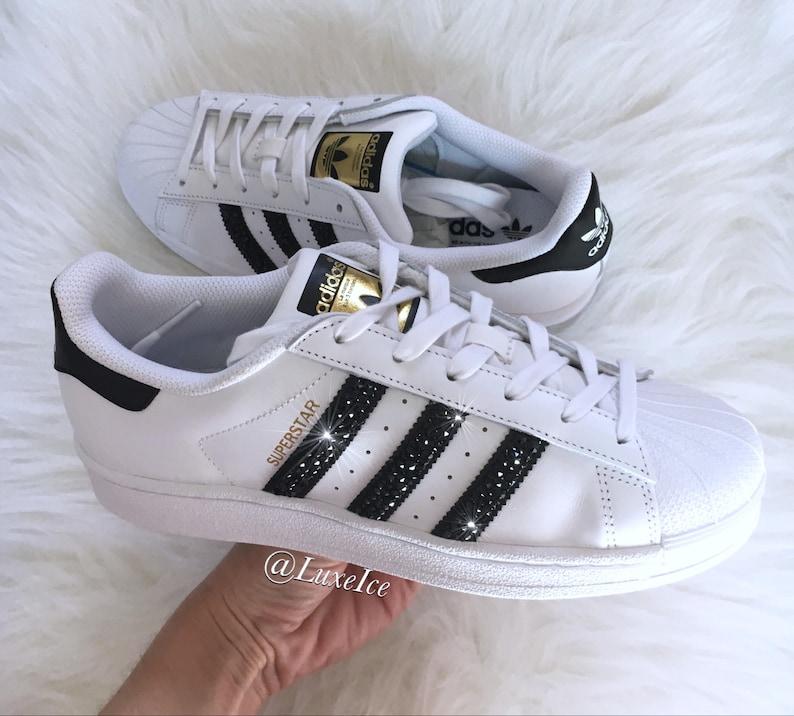 ddf00dd14753 Swarovski Adidas Superstar-blanc/noir/blanc-avec des cristaux | Etsy