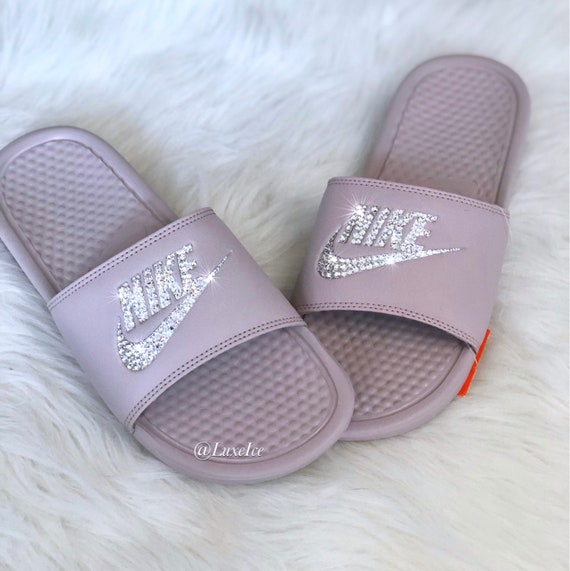 best authentic f4d54 72514 Swarovski Nike Benassi JDI Slides Sandals Particle   Etsy
