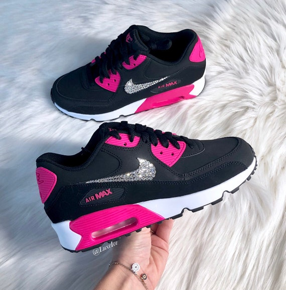 Swarovski Nike Air Max 90 Black Pink Prime White Casual  7fa9aaf182b0