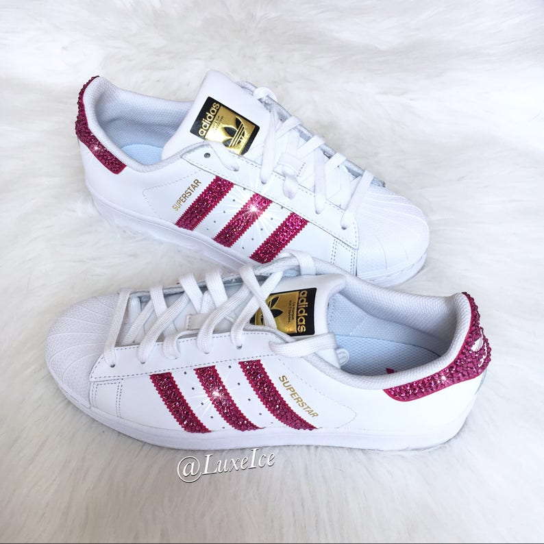 9e73bd994fd45 Adidas Original Superstar - White/Bold Pink with SWAROVSKI® Xirius Rose-Cut  Crystals.
